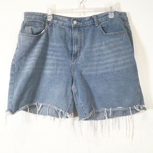 Nasty Gal Cut Off Frayed Denim Jean Shorts Md Wash